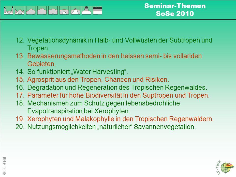 © H. Kehl Seminar-Themen SoSe 2010 12.Vegetationsdynamik in Halb- und Vollwüsten der Subtropen und Tropen. 13.Bewässerungsmethoden in den heissen semi