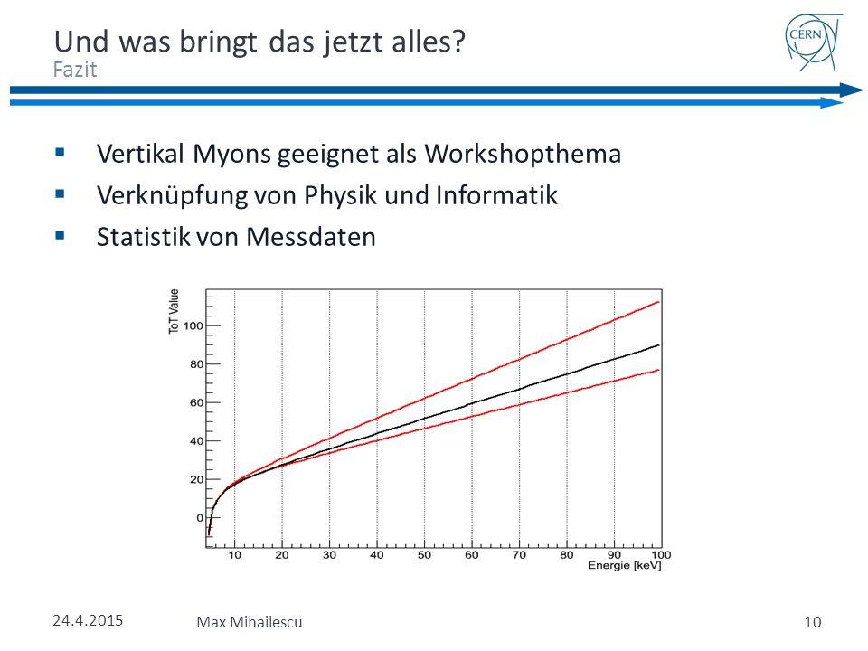 24.4.2015 Max Mihailescu  Vertikal Myons geeignet als Workshopthema  Verknüpfung von Physik und Informatik  Statistik von Messdaten Fazit Und was bringt das jetzt alles.