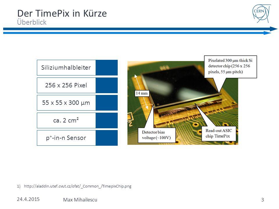 Überblick Der TimePix in Kürze 1)http://aladdin.utef.cvut.cz/ofat/_Common_/TimepixChip.png 24.4.2015 Max Mihailescu3 256 x 256 Pixel55 x 55 x 300 µmca.