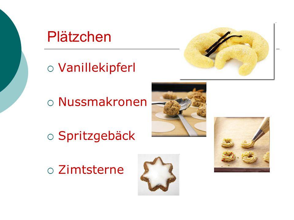 Plätzchen  Vanillekipferl  Nussmakronen  Spritzgebäck  Zimtsterne