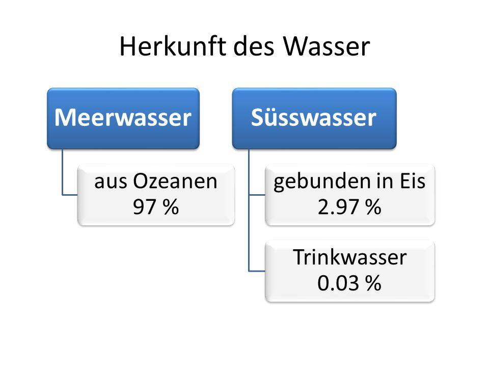 Herkunft des Wasser Meerwasser aus Ozeanen 97 % Süsswasser gebunden in Eis 2.97 % Trinkwasser 0.03 %