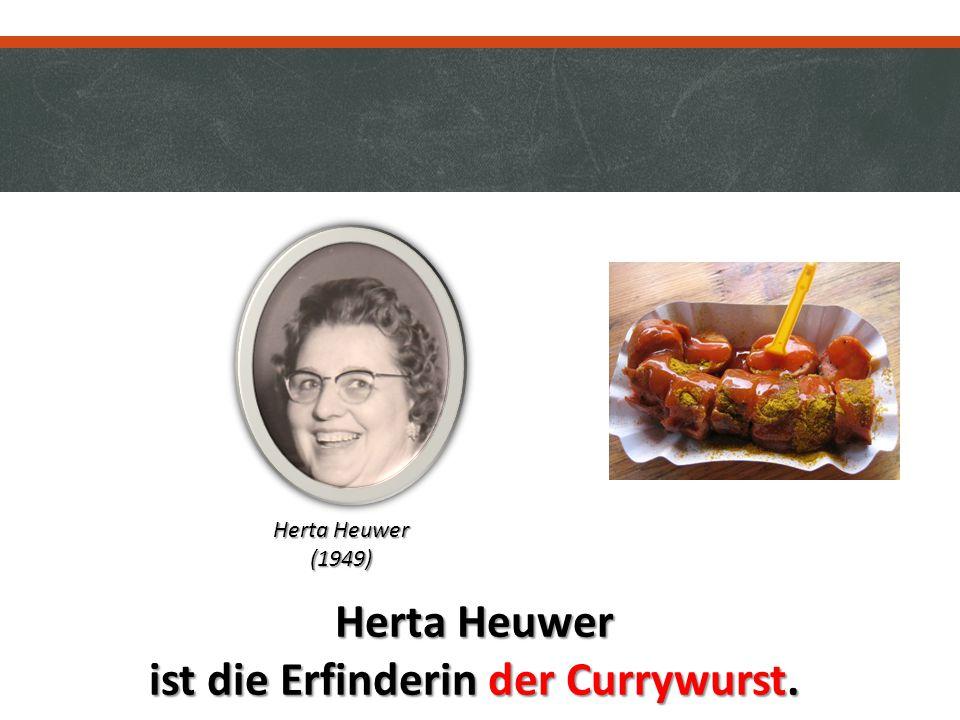 Herta Heuwer ist die Erfinderin der Currywurst. Herta Heuwer (1949)