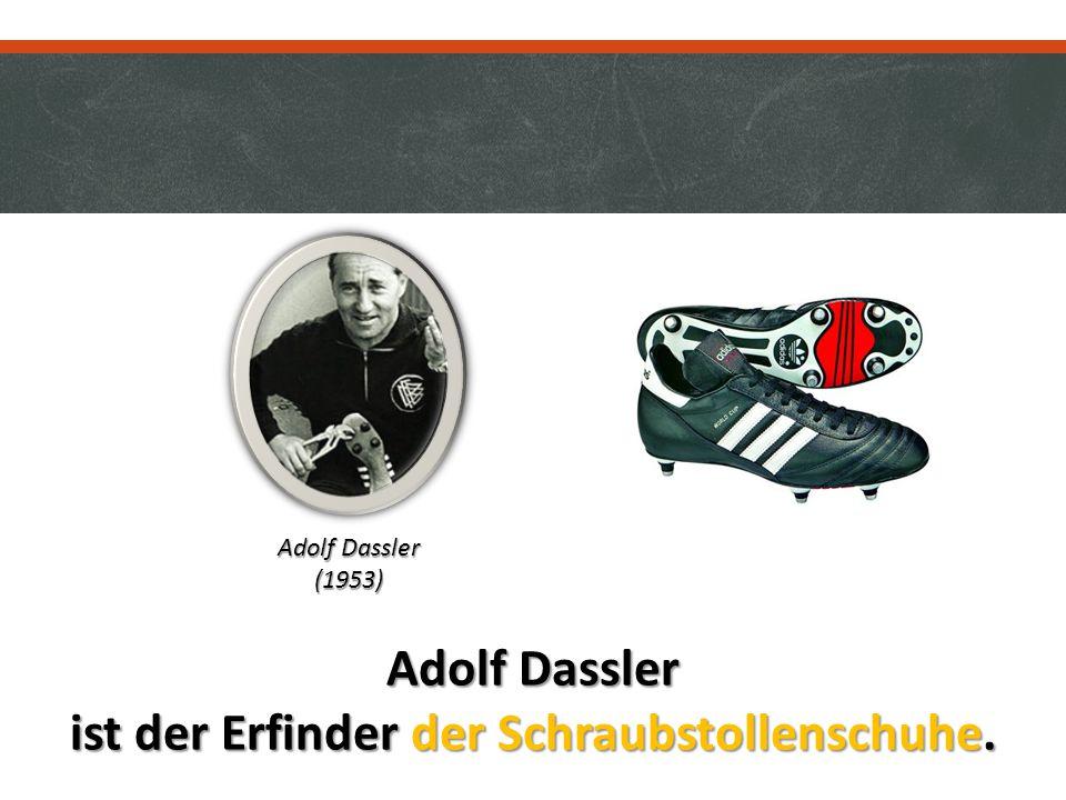 Adolf Dassler ist der Erfinder der Schraubstollenschuhe. Adolf Dassler (1953)