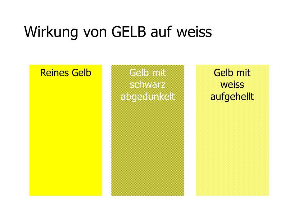 Wirkung von GELB auf weiss Reines GelbGelb mit schwarz abgedunkelt Gelb mit weiss aufgehellt