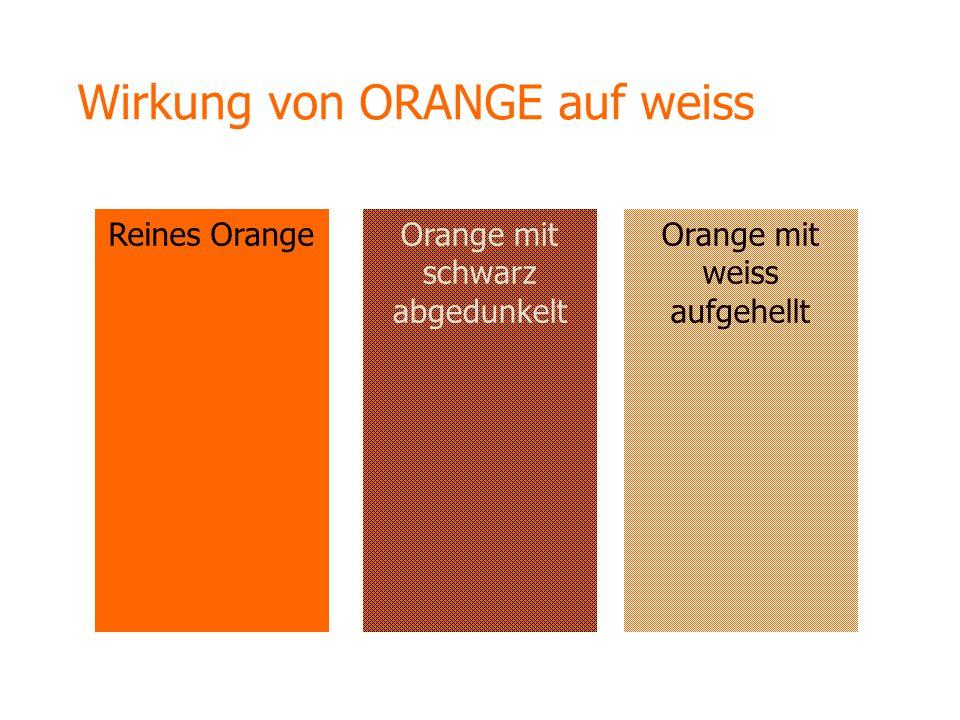 Wirkung von ORANGE auf weiss Reines OrangeOrange mit weiss aufgehellt Orange mit schwarz abgedunkelt