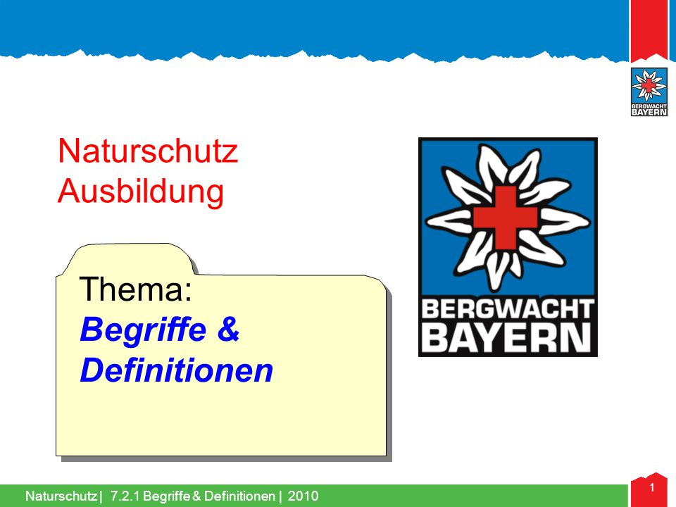 Naturschutz   2 7.2.1.0 Naturschutz in der Bergwacht 7.2.1.1 Ökologie 7.2.1.2Biotop, Biozönose, Ökosystem 7.2.1.3Art, Population, Evolution 7.2.1.4Biodiversität, Rote Listen 7.2.1.5Umwelt-, Arten- und Naturschutz 7.2.1.6Schutzgebiete 7.2.1.7Amtlicher- & Verbandsnaturschutz 7.2.1.0 Naturschutz in der Bergwacht   2010 Begriffe & Definitionen