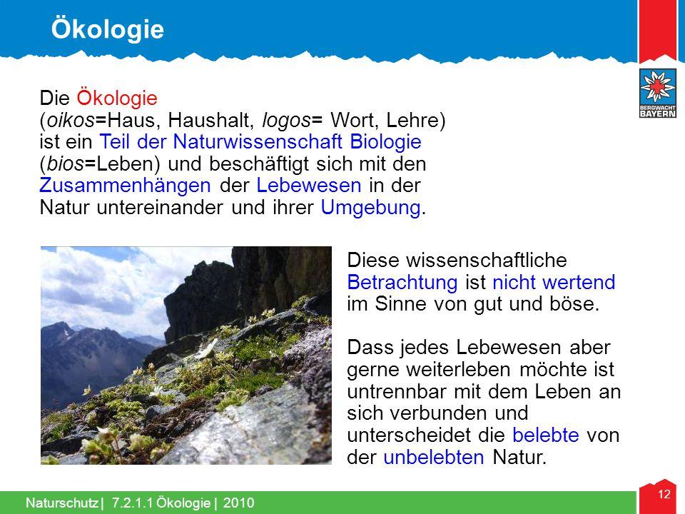 Naturschutz | 12 Die Ökologie (oikos=Haus, Haushalt, logos= Wort, Lehre) ist ein Teil der Naturwissenschaft Biologie (bios=Leben) und beschäftigt sich