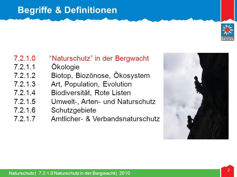 Naturschutz   33 7.2.1.6 Schutzgebiete   2010 Begriffe & Definitionen 7.2.1.0 Naturschutz in der Bergwacht 7.2.1.1 Ökologie 7.2.1.2Biotop, Biozönose, Ökosystem 7.2.1.3Art, Population, Evolution 7.2.1.4Biodiversität, Rote Listen 7.2.1.5Umwelt-, Arten- und Naturschutz 7.2.1.6Schutzgebiete 7.2.1.7Amtlicher- & Verbandsnaturschutz