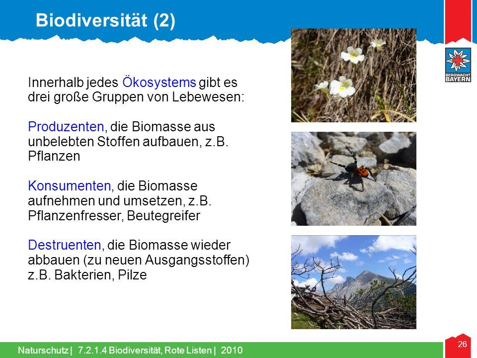 Naturschutz | 26 Innerhalb jedes Ökosystems gibt es drei große Gruppen von Lebewesen: Produzenten, die Biomasse aus unbelebten Stoffen aufbauen, z.B.