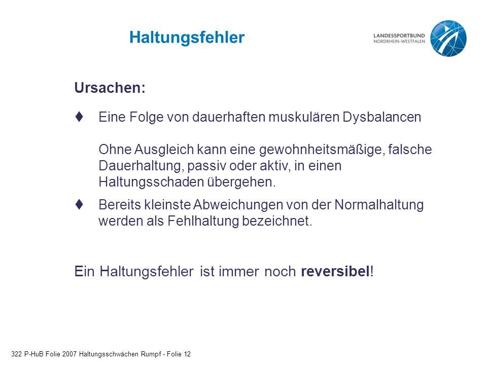 Haltungsfehler 322 P-HuB Folie 2007 Haltungsschwächen Rumpf - Folie 12 Ursachen:  Eine Folge von dauerhaften muskulären Dysbalancen Ohne Ausgleich ka