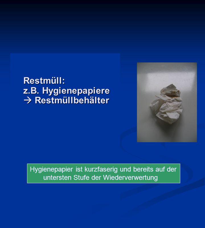 Restmüll: z.B. Hygienepapiere  Restmüllbehälter Hygienepapier ist kurzfaserig und bereits auf der untersten Stufe der Wiederverwertung