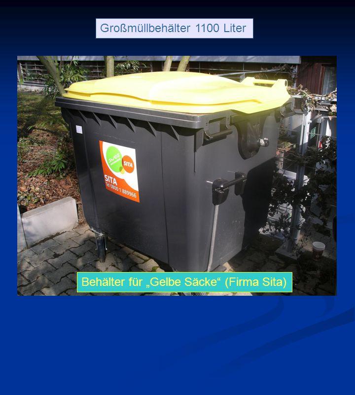 """Behälter für """"Gelbe Säcke (Firma Sita) Großmüllbehälter 1100 Liter Behälter für """"Gelbe Säcke (Firma Sita)"""