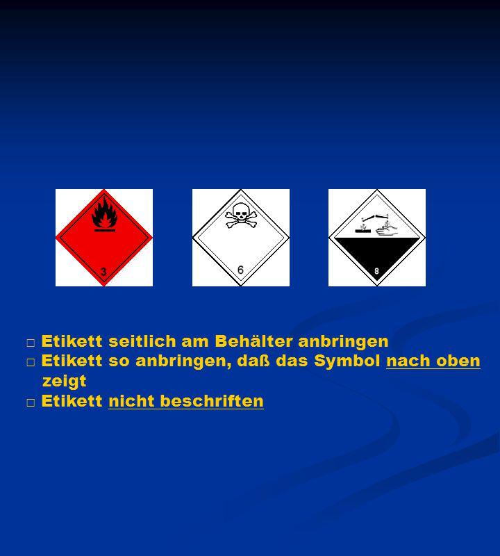 □ Etikett seitlich am Behälter anbringen □ Etikett so anbringen, daß das Symbol nach oben zeigt □ Etikett nicht beschriften