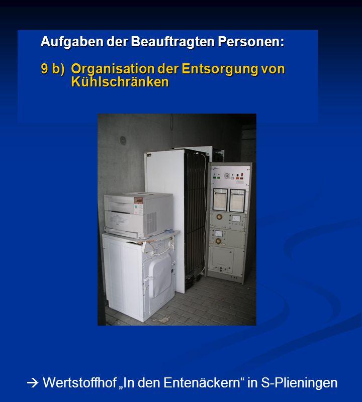 """Aufgaben der Beauftragten Personen: 9 b)Organisation der Entsorgung von Kühlschränken  Wertstoffhof """"In den Entenäckern in S-Plieningen"""