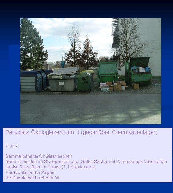 """Parkplatz Ökologiezentrum II (gegenüber Chemikalienlager) v.l.n.r.: Sammelbehälter für Glasflaschen Sammelmulden für Styroporteile und """"Gelbe Säcke mit Verpackungs-Wertstoffen Großmüllbehälter für Papier (1,1 Kubikmeter) Preßcontainer für Papier Preßcontainer für Restmüll"""