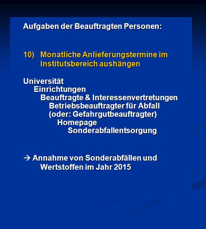 Aufgaben der Beauftragten Personen: 10)Monatliche Anlieferungstermine im Institutsbereich aushängen Universität Einrichtungen Einrichtungen Beauftragt