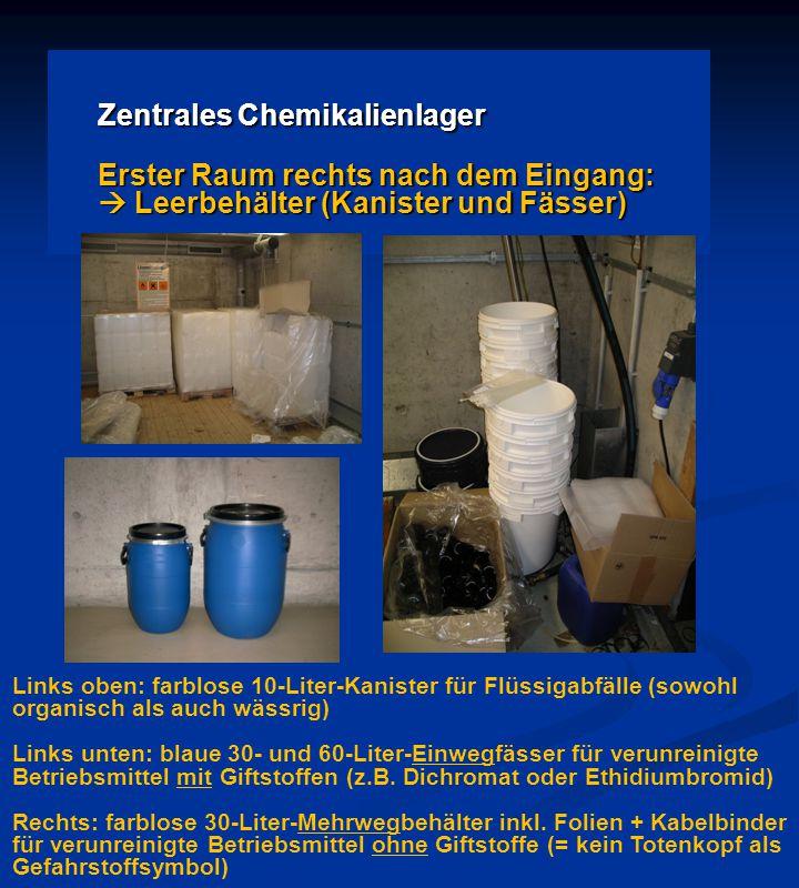 Zentrales Chemikalienlager Erster Raum rechts nach dem Eingang:  Leerbehälter (Kanister und Fässer) Links oben: farblose 10-Liter-Kanister für Flüssigabfälle (sowohl organisch als auch wässrig) Links unten: blaue 30- und 60-Liter-Einwegfässer für verunreinigte Betriebsmittel mit Giftstoffen (z.B.