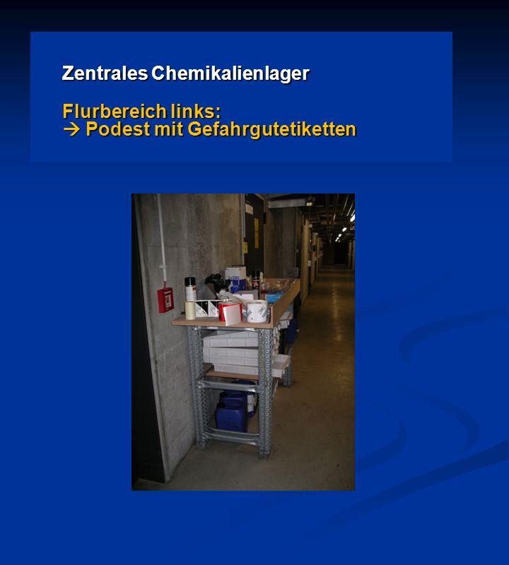 Zentrales Chemikalienlager Flurbereich links:  Podest mit Gefahrgutetiketten