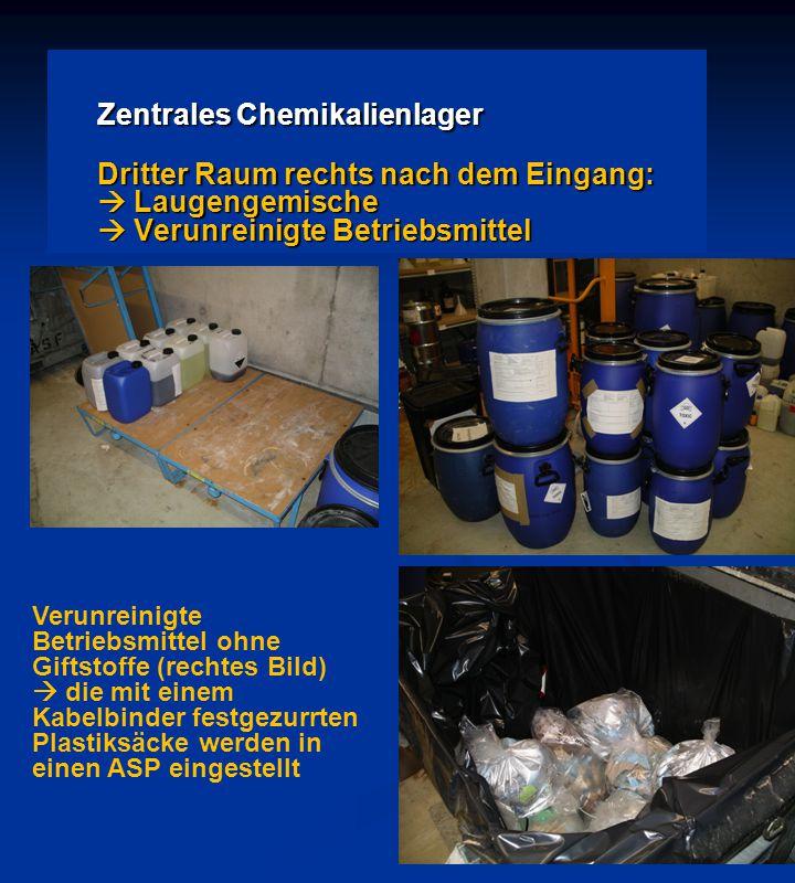 Zentrales Chemikalienlager Dritter Raum rechts nach dem Eingang:  Laugengemische  Verunreinigte Betriebsmittel Verunreinigte Betriebsmittel ohne Gif