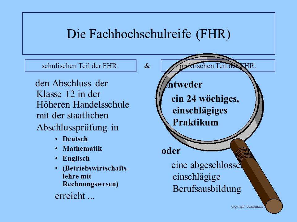 copyright Strickmann 2007 Die Fachhochschulreife (FHR) den Abschluss der Klasse 12 in der Höheren Handelsschule mit der staatlichen Abschlussprüfung i