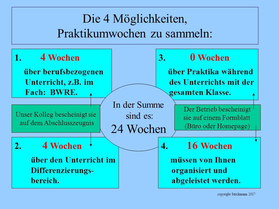 copyright Strickmann 2007 1. 4 Wochen über berufsbezogenen Unterricht, z.B. im Fach: BWRE. 3. 0 Wochen über Praktika während des Unterrichts mit der g