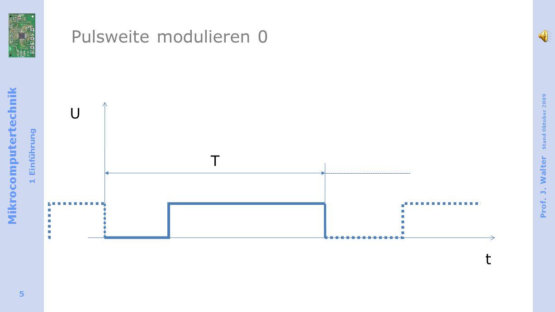 Mikrocomputertechnik 1 Einführung Prof. J. Walter Stand Oktober 2009 5 T U t Pulsweite modulieren 0