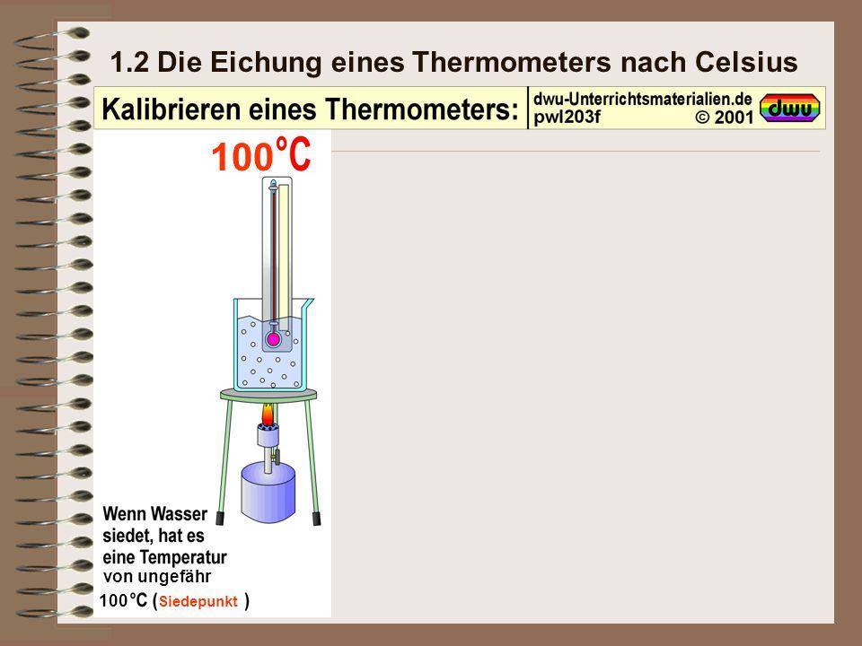 1.2 Die Eichung eines Thermometers nach Celsius von ungefähr 100 Siedepunkt 100