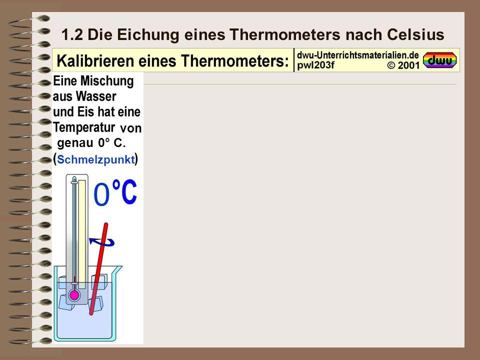 1.2 Die Eichung eines Thermometers nach Celsius von genau 0° C. Schmelzpunkt 0
