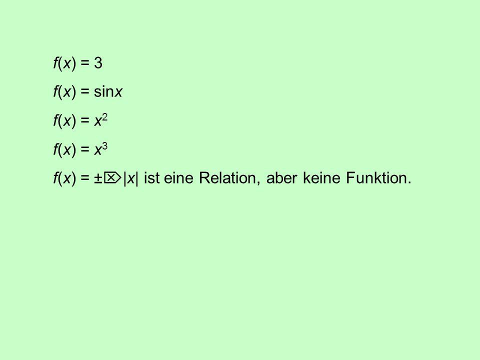 Eine Relation ist eine Abbildung oder Funktion, wenn für jedes x  X genau ein y  Y mit y = f(x) existiert.