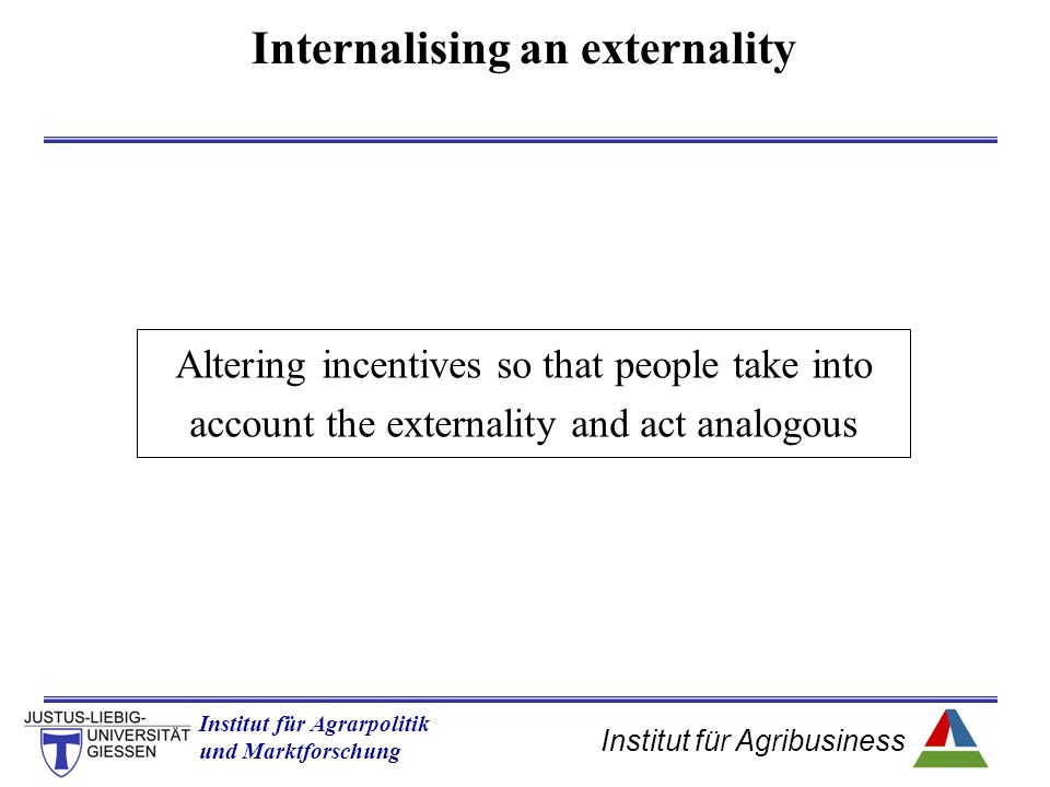 Institut für Agribusiness Institut für Agrarpolitik und Marktforschung Hannover 14.11.07.ppt Internalising an externality Altering incentives so that people take into account the externality and act analogous