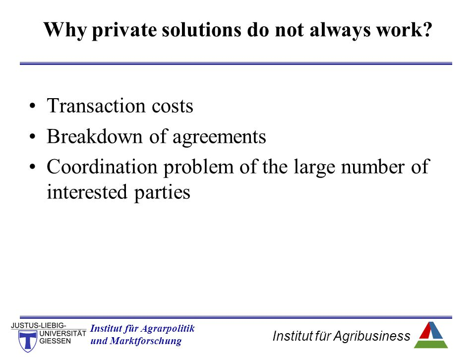 Institut für Agribusiness Institut für Agrarpolitik und Marktforschung Hannover 14.11.07.ppt Why private solutions do not always work? Transaction cos