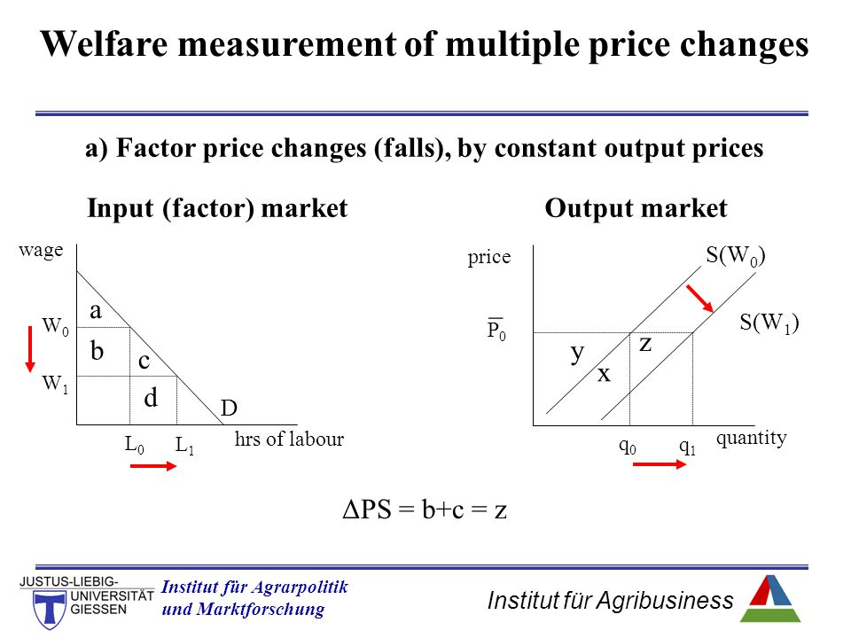 Institut für Agribusiness Institut für Agrarpolitik und Marktforschung Hannover 14.11.07.ppt Welfare measurement of multiple price changes a) Factor price changes (falls), by constant output prices hrs of labour wage D Input (factor) marketOutput market quantity price a W0W0 L0L0 S(W 0 ) W1W1 L1L1 b c d S(W 1 ) P0P0 _ q0q0 q1q1 y z x ΔPS = b+c = z