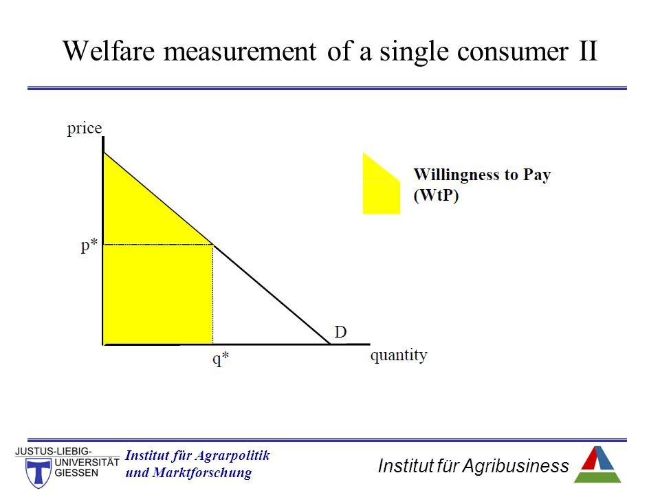 Institut für Agribusiness Institut für Agrarpolitik und Marktforschung Hannover 14.11.07.ppt Welfare measurement of a single consumer II
