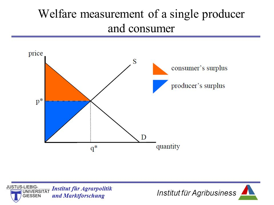 Institut für Agribusiness Institut für Agrarpolitik und Marktforschung Hannover 14.11.07.ppt Welfare measurement of a single producer and consumer