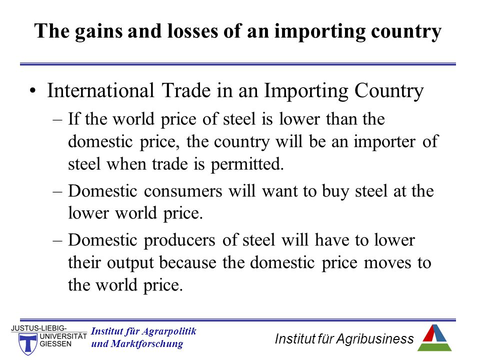 Institut für Agribusiness Institut für Agrarpolitik und Marktforschung Hannover 14.11.07.ppt International Trade in an Importing Country –If the world price of steel is lower than the domestic price, the country will be an importer of steel when trade is permitted.