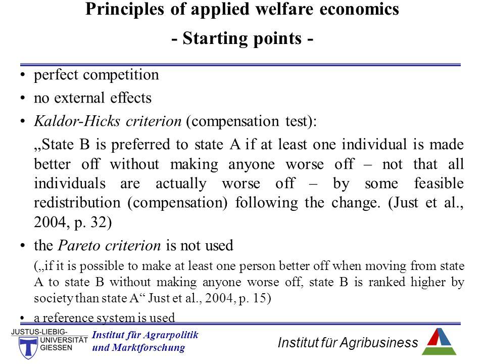 Institut für Agribusiness Institut für Agrarpolitik und Marktforschung Hannover 14.11.07.ppt Exercise Answer CS = 0.5(p p - p *) x * CS = 0.5(12 - 4)8 = 32 PS = 0.5 (p * - p S ) x * PS = 0.5 (3 - 0) 8 = 16 Total Welfare = CS+PS Total Welfare = 32+16= 48