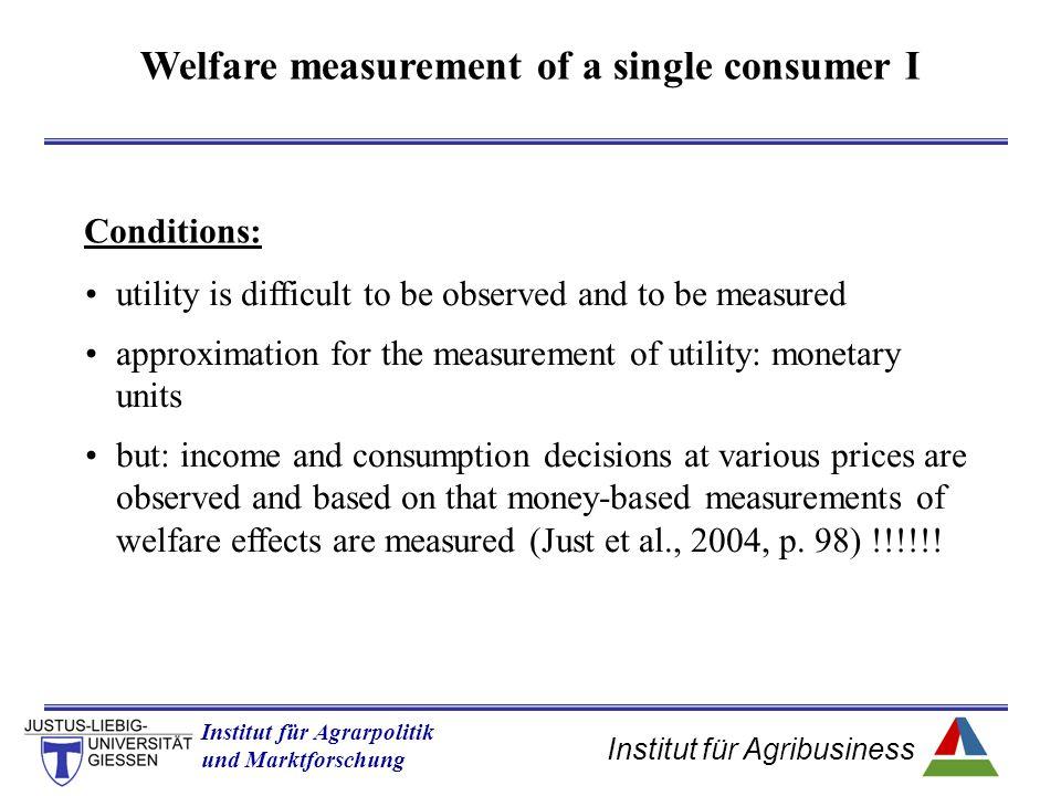 Institut für Agribusiness Institut für Agrarpolitik und Marktforschung Hannover 14.11.07.ppt Welfare measurement of multiple price changes a) Factor price changes (falls), by constant output prices hrs of labour wage D Input (factor) marketOutput market quantity price a W0W0 L0L0 S(W 0 ) W1W1 L1L1 b c d S(W 1 ) P0P0 _ q0q0 q1q1 y z x ΔPS = b+c = z