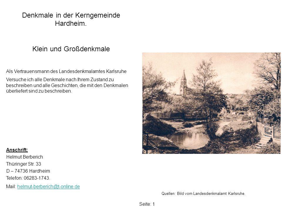 Seite: 1 Denkmale in der Kerngemeinde Hardheim.