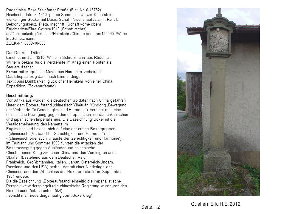 Seite: 12 Quellen: Bild H.B.2012 Rüdentaler/ Ecke Steinfurter Straße (Flst.