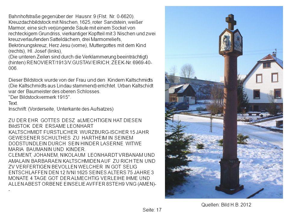 Seite: 17 Quellen: Bild H.B.2012 Bahnhofstraße gegenüber der Hausnr.