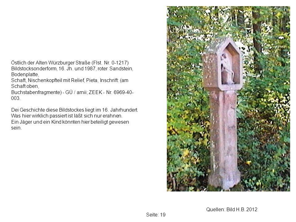Seite: 19 Quellen: Bild H.B.2012 Östlich der Alten Würzburger Straße (Flst.
