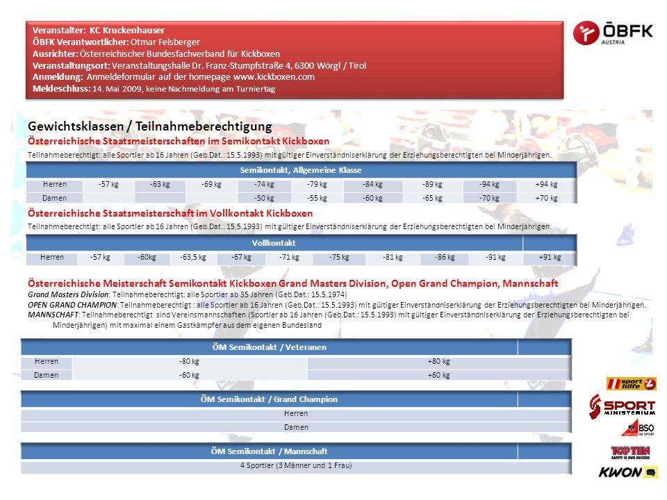 Gewichtsklassen / Teilnahmeberechtigung Österreichische Staatsmeisterschaften im Semikontakt Kickboxen Teilnahmeberechtigt: alle Sportler ab 16 Jahren