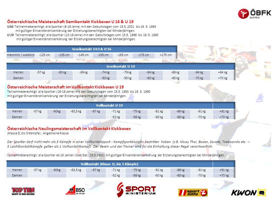 Österreichische Meisterschaft Semikontakt Kickboxen U 16 & U 19 U16: Teilnahmeberechtigt: alle Sportler (8-16 Jahre) mit den Geburtstagen vom 15.5. 20