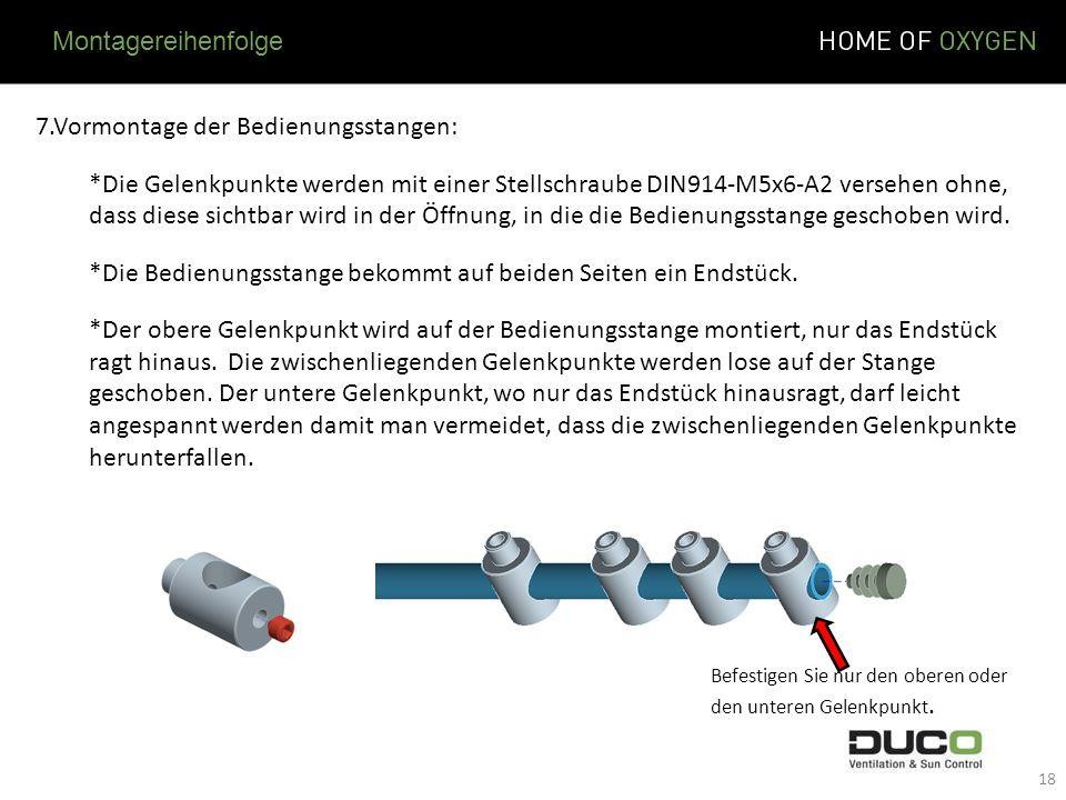 7.Vormontage der Bedienungsstangen: *Die Gelenkpunkte werden mit einer Stellschraube DIN914-M5x6-A2 versehen ohne, dass diese sichtbar wird in der Öff