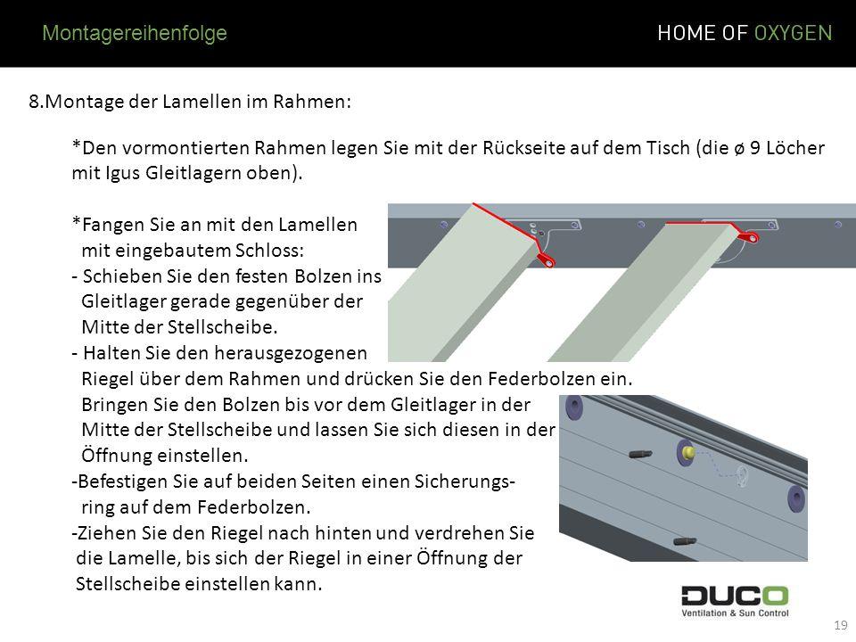 8.Montage der Lamellen im Rahmen: *Den vormontierten Rahmen legen Sie mit der Rückseite auf dem Tisch (die ø 9 Löcher mit Igus Gleitlagern oben). *Fan