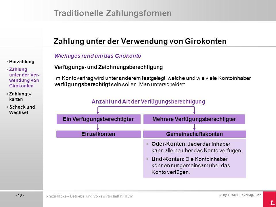 © by TRAUNER Verlag, Linz - 10 - Praxisblicke – Betriebs- und Volkswirtschaft I/II HLW Traditionelle Zahlungsformen Zahlung unter der Verwendung von G