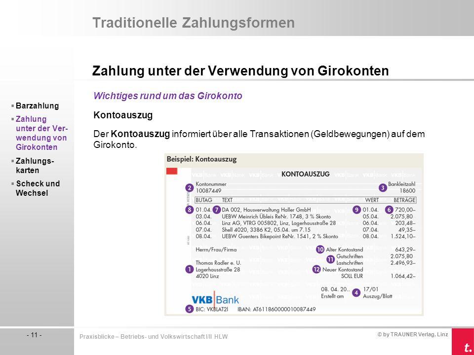 © by TRAUNER Verlag, Linz - 11 - Praxisblicke – Betriebs- und Volkswirtschaft I/II HLW Traditionelle Zahlungsformen Zahlung unter der Verwendung von G