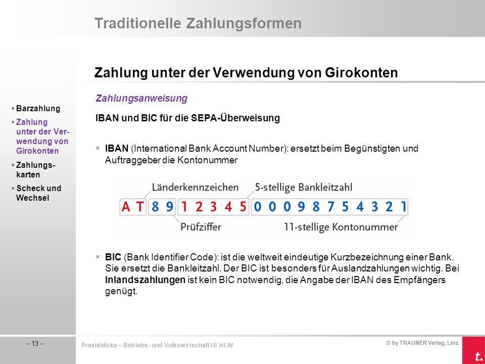 © by TRAUNER Verlag, Linz - 13 - Praxisblicke – Betriebs- und Volkswirtschaft I/II HLW Traditionelle Zahlungsformen Zahlung unter der Verwendung von G