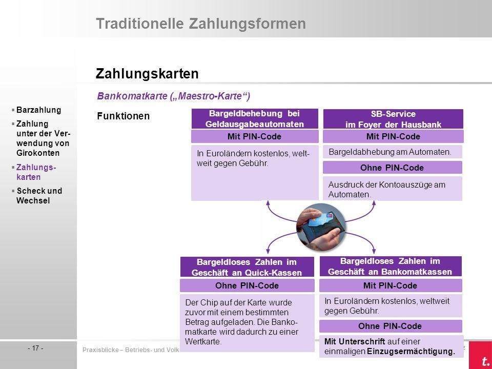 © by TRAUNER Verlag, Linz - 17 - Praxisblicke – Betriebs- und Volkswirtschaft I/II HLW Traditionelle Zahlungsformen Zahlungskarten  Barzahlung  Zahl