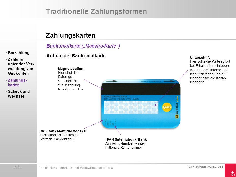 © by TRAUNER Verlag, Linz - 19 - Praxisblicke – Betriebs- und Volkswirtschaft I/II HLW Traditionelle Zahlungsformen Zahlungskarten  Barzahlung  Zahl